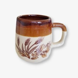 • vintage 70's ceramic autumnal wheat coffee cup •
